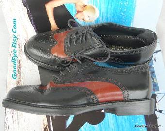 Vintage JOAN n DAVID Wingtip Oxford Shoes Leather size 5 .5 Eur 35 .5 UK 3 Handmade Italy Jazz Flats Black n Tan Women