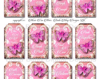 Breast Cancer Awareness, 3 x 2 gift tags, original art digital collage sheets, INSTANT Digital Download at Checkout, think pink