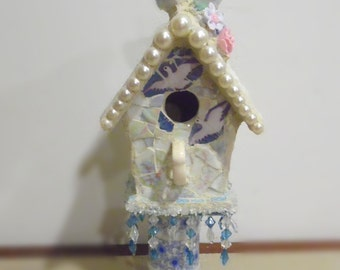 shabby chic small pedestal birdhouse with blue bird and blossoms and pearls