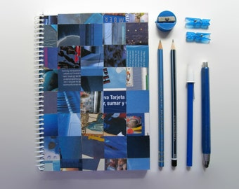 Blank Sketchbook - Spiral Notebook - Blue Shades - 5.7x8.25in