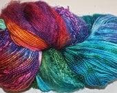 Hand dyed yarn, Biggie, Carnival colorway, wool, silk, nylon