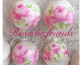3 ORNAMENTS White Glass Hand Painted PINK Roses Glass Round Ball ecs SVFTeam sct schteam