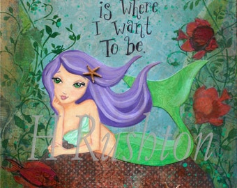 Mermaid Art-  Print on Canvas- Canvas Art for Kids-  Children's Decor- Mermaid Decor- Any Size on Canvas You Pick