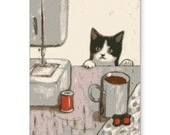 "Cat Greeting Card - 5 designs by KAZUMI 5"" x 7"" Free Shipping"