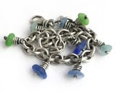 Seaglass Beach Glass Sterling Silver Oxidized Vintage Cable Chain Charm Bracelet Cobalt Cornflower Blue Green Aqua