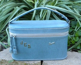 Vintage Monogrammed Blue Skyway Carry On Train Case Luggage
