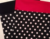 27 CHAIR POCKETS Durable black & white Cotton Polka dot print with your choice of color backers