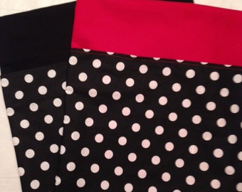 24 CHAIR POCKETS Durable black & white Cotton Polka dot print with your choice of color backers