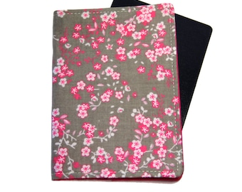 Pink Cherry Blossom on Grey Passport Cover/Holder/Wallet
