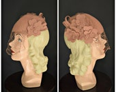 1940s dusty rose felt hat with cut out flowers and veil