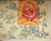 Vintage Toile Fabric Remnants Blue/Ecru and Mulberry/Gold