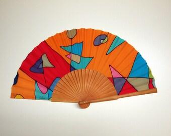 Hand fan Handpainted Silk-Abanico-Wedding gift-Giveaways-Bridesmaids-Spanish hand fan