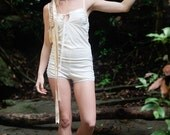 Organic Cotton Romper trimmed with Silk and Lace