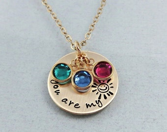 You Are My Sunshine Necklace - Personalized You Are My Sunshine Jewelry - Gold Hand Stamped Necklace - Gift For Her