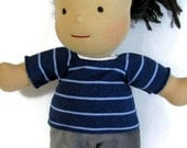 blue striped knit doll top, 14, 15, 16 inch doll shirt, doll tee shirt, doll pullover top