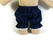 Denim and lace bloomers for your 8 to 10 inch chubby doll, for waists from 7 to 11 inches, doll clothes