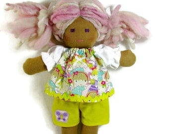 10 to 12 inch Waldorf doll shorts outfit, doll clothes, fairy top with yellow shorts for your doll, handmade doll clothes