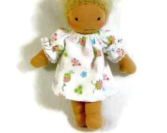7 to 9 inch Waldorf doll ladybugs and flowers cotton flannel nightgown, cotton doll nightie