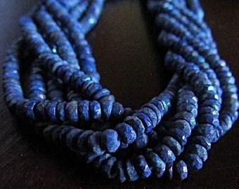Royal Lapis Lazuli with Tiny Splashes of AB Aurora Borealis Finish Rondelles 4 mm genuine gemstone beads