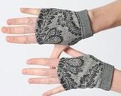 Baroque fingerless Gauntlets, grey winter fingerless gloves, Gray baroque womens gloves, Winter fingerless gloves, Gift for women, MALAM