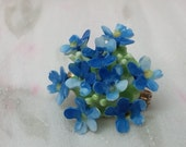 1954 Vintage Blue 'Forget Me Not' Flower Bouquet Bone China Brooch/Pin by Denton China made in England
