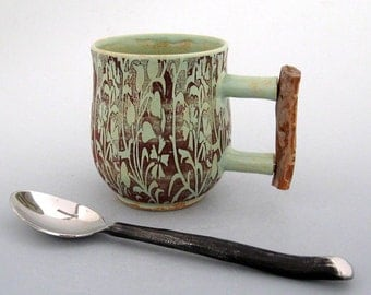 Ceramic Mug with Ponderosa Pine Handle - 8 oz - Coffee Mug - Tea Cup - Hand Thrown Mug