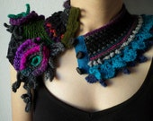 statement scarflette with colorful flowers in black, gray, green, purple, turquoise blue and magenta pink tones