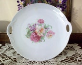 Vintage Germany Handled China Platter Floral Very Shabby Cottage Plate