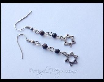 Seal of Solomon Hexagonal Star of David Mystical Symbol Charm Earrings with Jasper and Black Beads