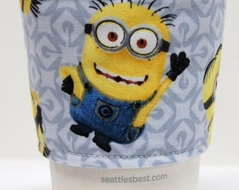 Coffee Cozy/Cup Sleeve Eco Friendly Slip-on, Teacher Appreciation, Co-Worker Gift, Bulk Discount: Minions
