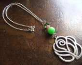 Budding Rose Glass and Candy Jade Silver Plated Chain necklace