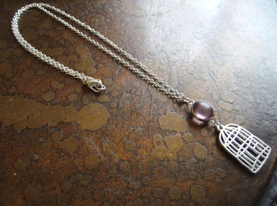 Caged Vintage Lucite Silver Plated Chain necklace