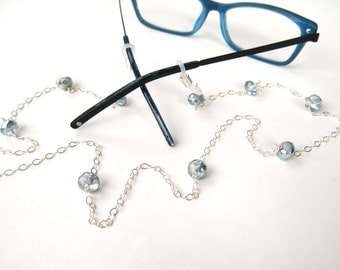 Ice Blue Eyeglass Chain, Silver Flat Cable Chain Reading Glasses Lanyard, Iridescent Light Blue Faceted Glass Beads, Sterling Silver, Frosty