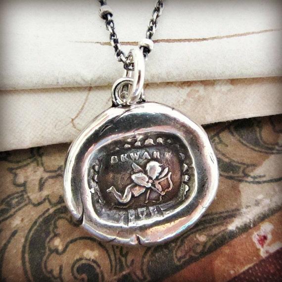 Cupid Wax Seal Charm Necklace - Cupid Necklace - Love Strikes - Cupids Arrow Necklace - E2230