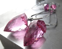 Bollywood Hot Pink Magenta Faceted Bullet Earrings, Oxidized Sterling Silver, Sweet Sexy Hydro Quartz Earrings, Contemporary Modern Jewelry
