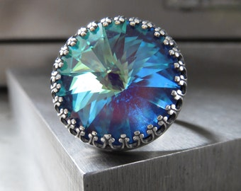 Large Indigo Ghost Crystal Cocktail Ring, Swarovski Rivoli Crystal Ring, Turquoise Blue Aqua Green Crystal Cocktail Adjustable Ring CR18