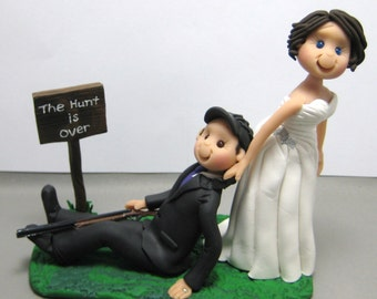 DEPOSIT for Custom made Hunting theme Polymer Clay Wedding Cake Topper