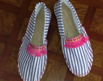 Pima cotton navy seersucker and pink fringe espadrilles made to order