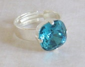 Blue Crystal Ring Swarovski Crystal Cocktail Ring Adjustable Cushion Square, Gift for Mom