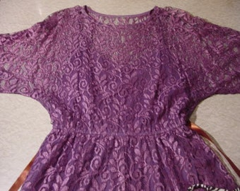 Vintage Dress Sheer Lace Hankie / Pointy Hem, bright purple, attached slip | boho Gypsy enchantress Pixie fairy