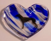 CLEARANCE Blue and White with Black Greyhound glass heart dish