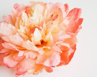 Coral Salmon Peach Sorbet Peony - 5 Inches - Silk Artificial Flower - ITEM 0171
