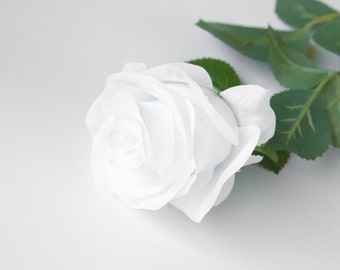 Perfectly Bloomed Rose in WHITE on 27 inch Stem - Silk Artificial Flowers, Silk Artificial Roses - ITEM 0409