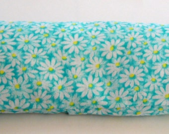 Aromatherapy Organic French Lavender and Flax Seed Eye Pillow, Aqua w White Daisy Eye Pillow w Removeable Cover, Relaxation Eye Pillow