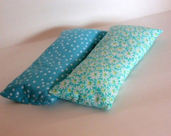 Aqua Polka Dot and Aqua Floral Eye Pillow, One Eye Pillow w 2 Removable Covers, Lavender Scented Eye Pillow
