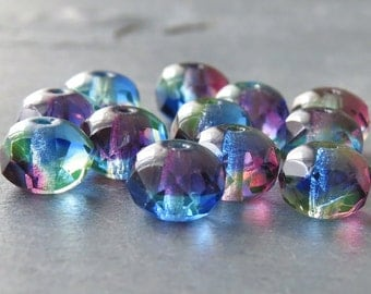 Amethyst Sapphire Jonquil Czech Glass Bead 9x6mm Rondelle : 12 pc Tri Color Faceted Rondelle