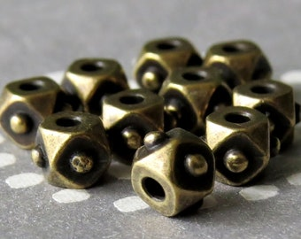 4mm Faceted Cube TierraCast Brass OX Spacer : 10 pc Brass Cube Beads