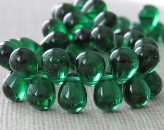 Emerald Green 8x6mm Czech Glass Large Teardrop : 50 pc Green Tear Drop Bead