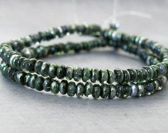 3mm Mirror Fern Green Czech  Glass Bead Rondelle Spacer : 100 pc Fern Rondelle Beads