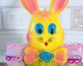 Vintage Style / Bump Chenille Easter Bunny Figure / Vintage Craft Supplies / Free-Standing Figure / Plastic Flowers